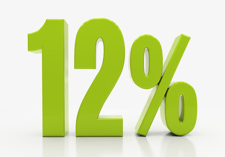 compounding: 12 Percent off Discount. 3D illustration