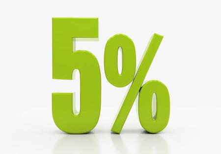 5 Percent off Discount. 3D illustration