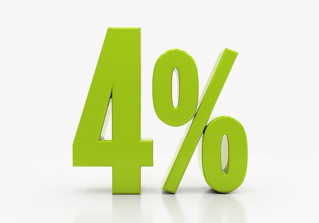 half cent: 4 Percent off Discount. 3D illustration
