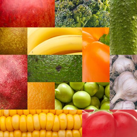 solicitude: fruit and vegetables collage Stock Photo