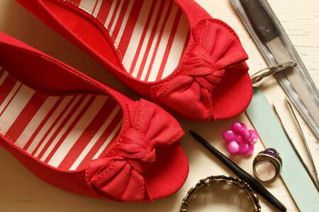 fabrick: Red Bow Wedges with open toe front and womens stuff