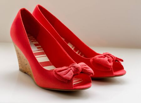 fabrick: Red Bow Wedges with open toe front