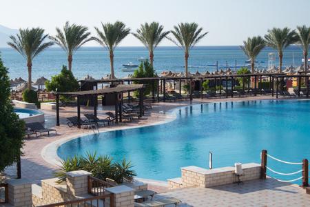 Swimming pool at luxury hotel resort in Sharm el-Sheikh, Egypt
