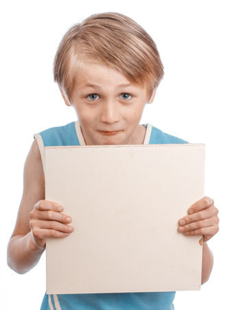 ad sign: A blond boy holding a blank ad sign isolated on a white background