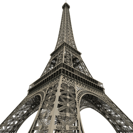 Wide-angle view of the Eiffel Tower, Paris, France. Looking upwards from the base of the tower Banque d'images
