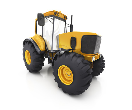 tractive: Farm tractor on a white background Stock Photo