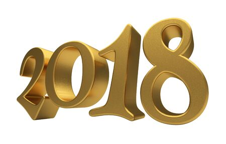year 3d: New 2018 Year 3d text on white background