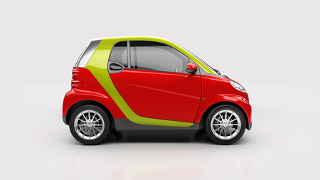sideview: Small city car in light studio, sideview Stock Photo