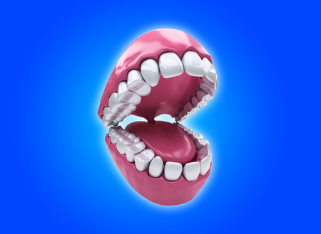 prosthodontics: Open mouth and white healthy teeth on blue background