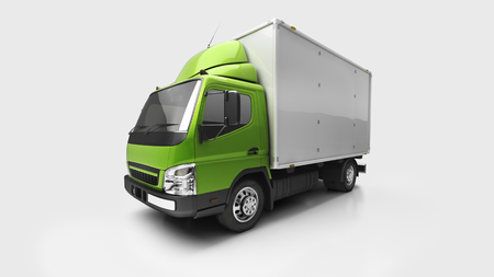 lading: 3d courier service delivery truck in studio Stock Photo