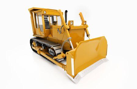 crawler: Heavy crawler bulldozer isolated on a light background with shadow Stock Photo