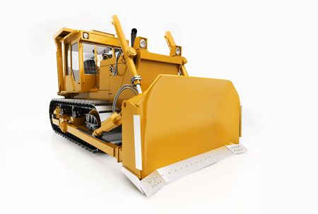 crawler: Heavy crawler bulldozer isolated on a light background with shadow Stock Photo