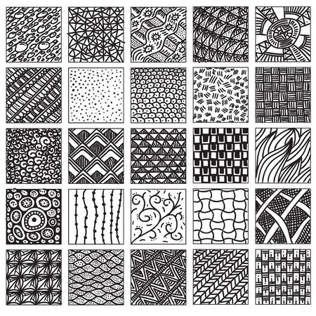 relaxed: Doodle pattern set. Hand drawing, relaxed style. Do not seamless