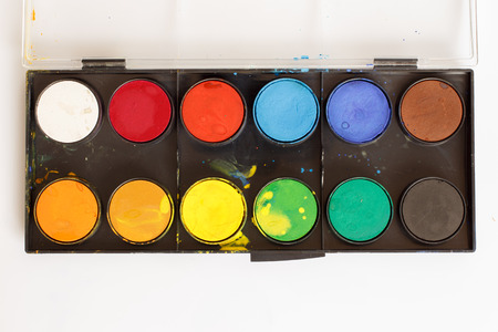paintbox: Closeup of water-color paint-box