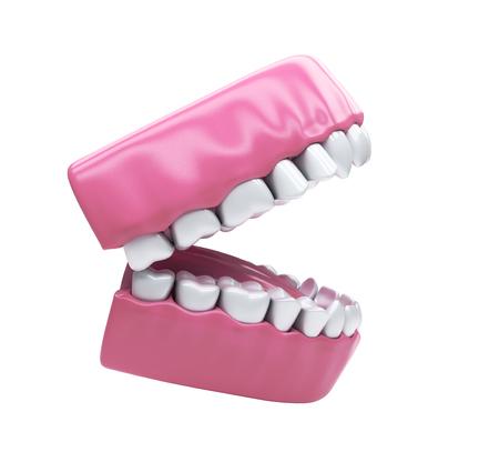 prosthodontics: Apra la bocca e denti sani bianchi isolato
