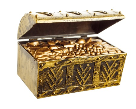 shinny: Open treasure chest with shinny gold isolated