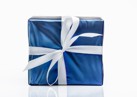 Blue gift box with ribbon