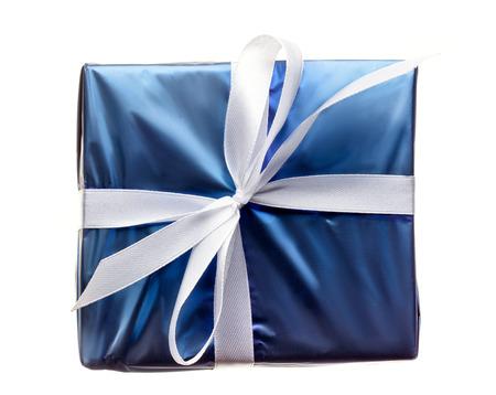 blue gift box: Blue gift box with ribbon