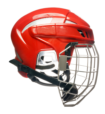 facemask: Red hockey helmet with cage isolated on white