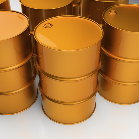 bbl: Stack of oil drums. Rows of sreel barrels Stock Photo
