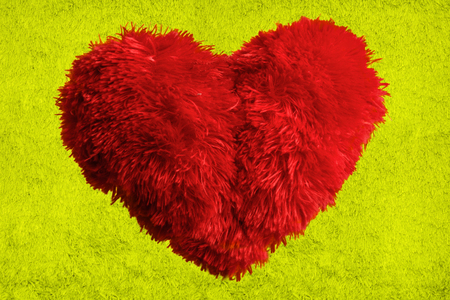 crush on: Heart shape fluffy pillow. Valentines Day Stock Photo