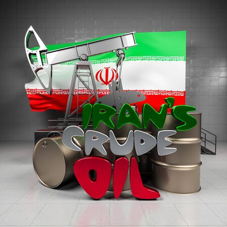 bbl: Oil pump and barrels on the background of the flag Iran Stock Photo