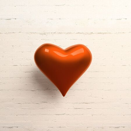crush on: Red heart on white brick wall Stock Photo