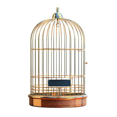 Empty bird cage dorée isolé sur blanc Banque d'images