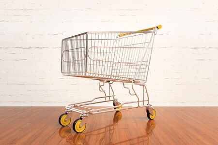 empty shopping cart: Empty shopping cart  on hardwood floor Stock Photo