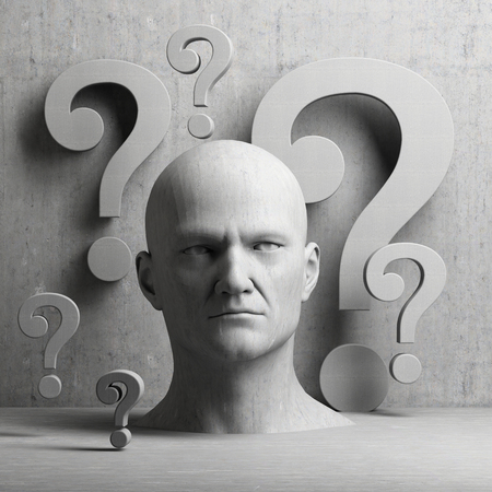 questions: Thinking man statue with question mark on gray background to illustrate learning, education, testing, quizzing, creativity and imagination