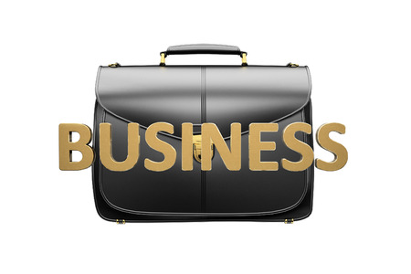 savings problems: Closeup of fashionable leather briefcase  on white. Business concept