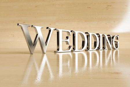 glans: Wedding steel sign on wood background