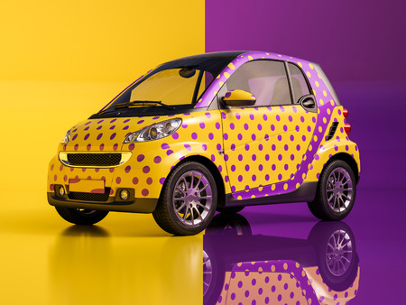 An artistically painted compact car
