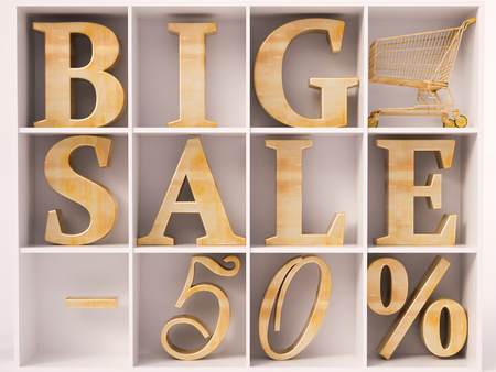 sellout: Big sale and 50% lettering in wardrobe Stock Photo
