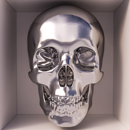 metalline: 3d render of skull in box. Front view Stock Photo