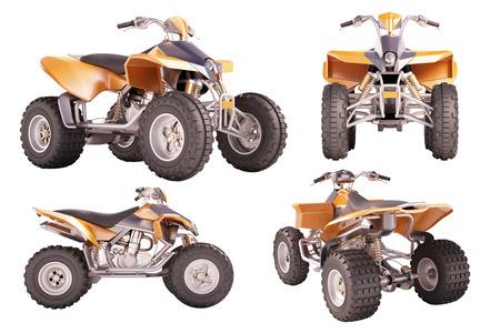 quadrant: Set of ATV quad bike isolated on white background Stock Photo