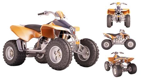 quad: Set of ATV quad bike isolated on white background Stock Photo