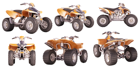 wheeling: Set of ATV quad bike isolated on white background Stock Photo