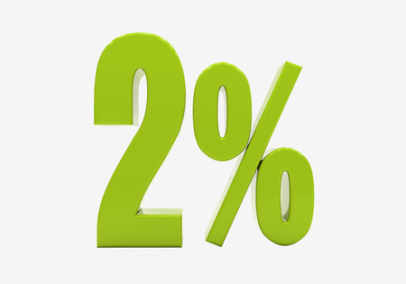half cent: 3d percentage discount sign isolated on white