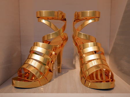 ankle strap: Gold high heels on shelves of shop closeup