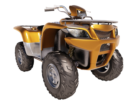 maneuverability: ATV quad bike isolated on white background Stock Photo