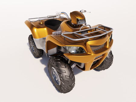wheeling: ATV quad bike, studio shooting, soft lighting Stock Photo