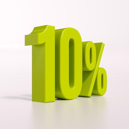 3D render: groen 10 procent, het percentage korting teken op wit, 10% Stockfoto