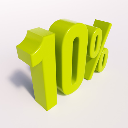 half cent: 3d render: green 10 percent, percentage discount sign on white, 10%
