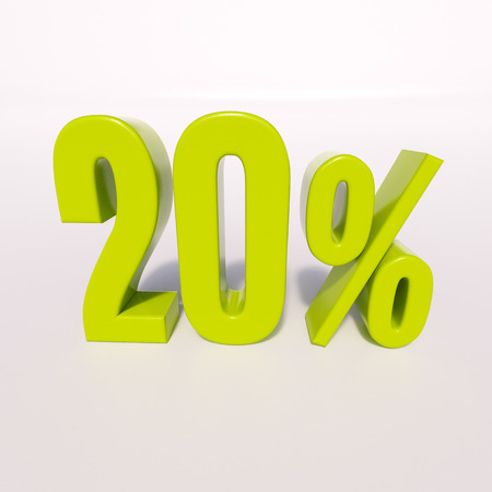 numerics: 3d render: green 20 percent, percentage discount sign on white, 20%