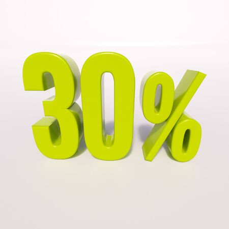30: 3d render: green 30 percent, percentage discount sign on white, 30%
