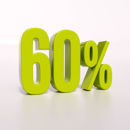 point of interest: 3d render: green 60 percent, percentage discount sign on white, 60% Stock Photo