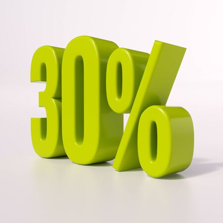 point of interest: 3d render: green 30 percent, percentage discount sign on white, 30%