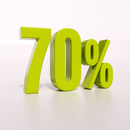 70: 3d render: green 70 percent, percentage discount sign on white, 70%