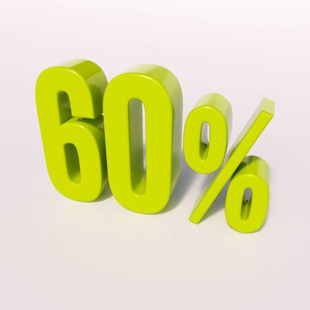 half cent: 3d render: green 60 percent, percentage discount sign on white, 60% Stock Photo